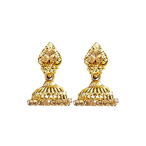 Luxaim Stylish Designer Gold Plated Dangle Drop Earrings for Girls, Women, Ladies with Dazzling Crystal Stones Golden Ethnic Traditional Jhumka/Jhumki Dangle Earrings New Party Wear Fancy Special Fashion Wedding Collection Accessories Design at Low Price Cost Great for Jewellery Diwali Festival Gift for Girlfriend & Sister  available at amazon for Rs.249