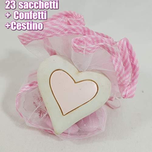 Sindy Bomboniere portaconfetti Sacchetti Nascita Battesimo Cuore Magnete con Cestino Fai da Te - Cestino + 23 Calamite + Confetti CRISPO al Cioccolato