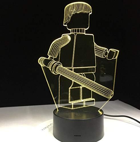 Joplc Cartoon Roboter 3D Tischlampe für Büro Hotel Schlafzimmer Bar Touch Control Nachtlicht für Kinder Zurück Zu Schule Geschenk (Einfache Halloween-ideen Für Die Schule)