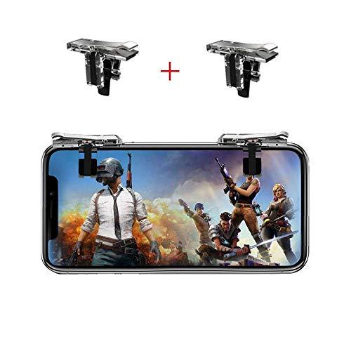 Fortnite PUBG Mobile Controller - SVZIOOG Mobile Game Controller (1 Paar + 1 Gamepad), Handy Game Trigger Mobile Gaming Joysticks für Android iOS, Fortnite PUBG Mobile Triggers i
