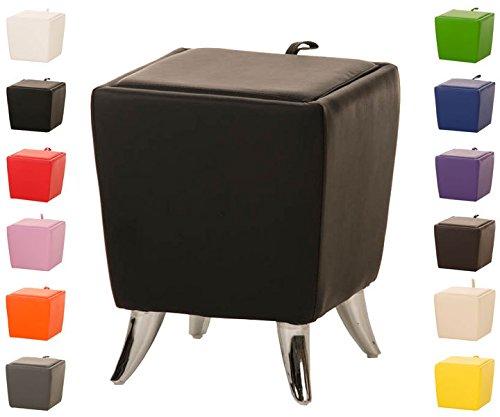 Clp sgabello roxy con vano portaoggetti | pouf portaoggetti con manico | sgabello basso imbottito | pouf divano in similpelle | sgabello contenitore apribile per soggiorno 36 x 36 cm, altezza seduta 45 cm, quadrato nero