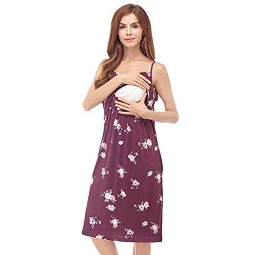 Lookhy Maternity Pregnanty Short Sleeve Slip Ruffles Summer Print Dress Stillshirt Damen Umstandsmode Stilltop Umstandsshirt Casual Umstandsbluse Ruffle Petticoat Slip