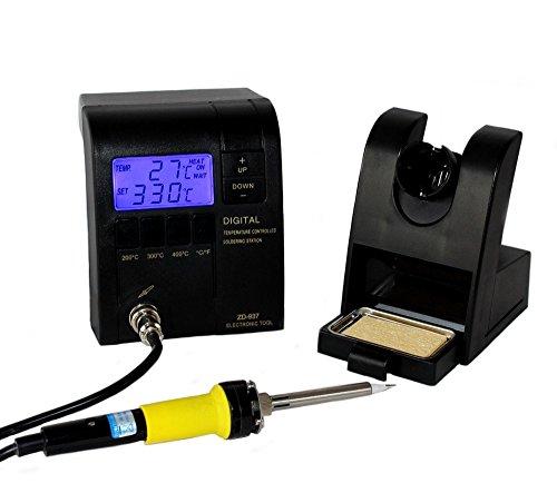 Komerci ZD-937ESD Regelbare digitale Lötstation mit 24V niedervolt Lötkolben, schwarz