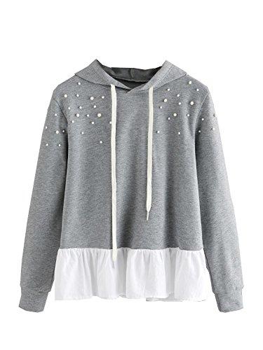 ROMWE Damen Mädchen Baumwolle Hoodie mit Perle Kapuze Pullover Grau M