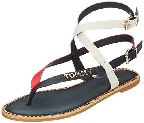 Tommy Hilfiger Iconic Flat Strappy Sandal, Infradito Donna, Rosso (RWB 020), 41 EU