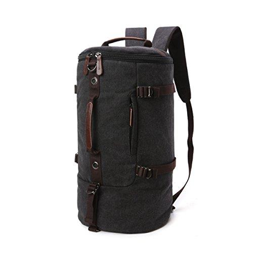 Leder Beuteltasche Zylindrische Tasche Rucksack Handtasche Canvas Bag Einfarbige Tasche Umhängetasche Gepäck,Black (Gepäck Luxus Leder)