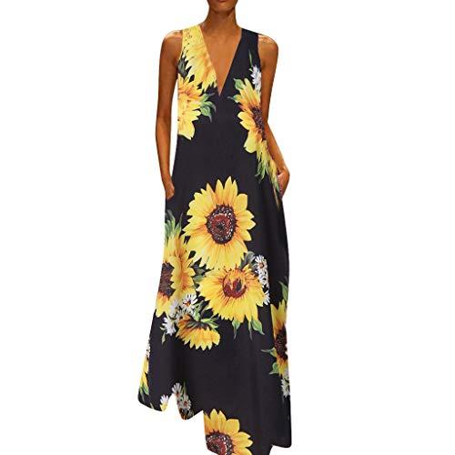 MAYOGO Kleid Damen Sommer Lang Elegant Schick Große Größen Ärmellose Maxikleid Schmetterling Muster Casual Cool Leichte Kleider mit Tasche S-5XL (Blau Langarm-skater-kleid)