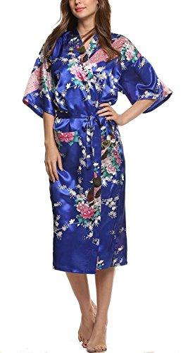 E-darter Soie Artificielle Paon Fleur Robe de Chambre Kimono Femme , Cardigan Peignoir Vêtement de Nuit Femme Marine