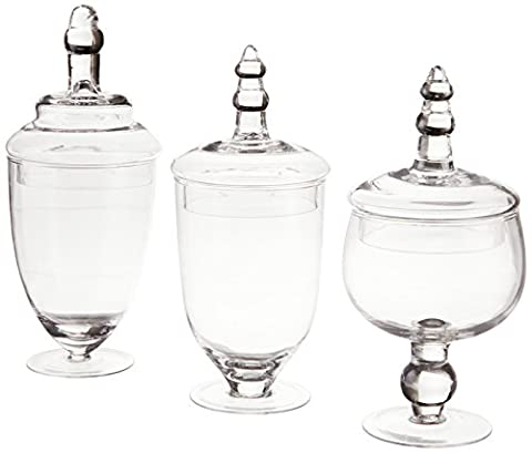 Home Essentials Terra Collection Assorted Footed Glass Canisters With Lids (Set of 3) by Home Essentials & Beyond