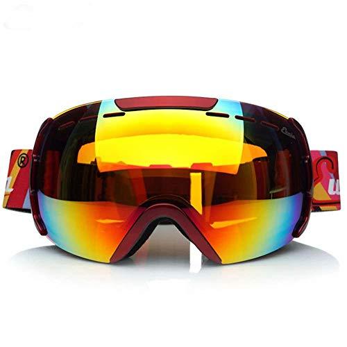 XYQY Brille Unisex 'Fit Over Glasses' UV Anti-Fog Anti-Explosion Dual-Optic Sphärische Skibrille für Erwachsene Snowboard EyewearRot