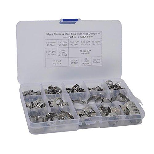 Sharplace Colliers de Tuyau Oreille Simple de Haute Qualité Acier Inoxydable - 90x 5.3-22.6mm