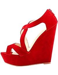 Azbro Mujer Zapatos De Cuñas Solido Multi-Correas Punta Abierta