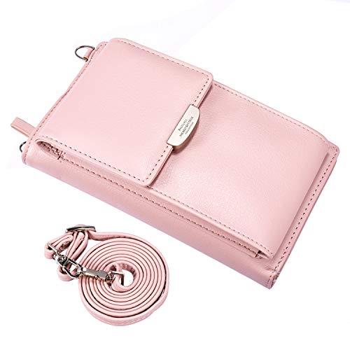 Flache Umhängetasche (UEEBAI Frauen Brieftasche Mädchen Umhängetasche Kartenhalter Schöne Mini-Handtasche für Mobiltelefon Kreditkarten Reißverschluss Weiches PU-Leder Exquisite Nähte Abnehmbarer Schultergurt - Rosa)