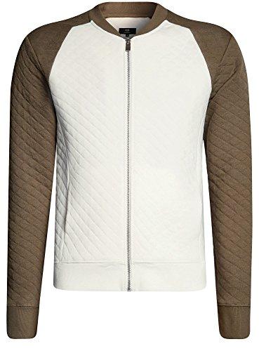 oodji Ultra Herren Jersey-Jacke aus Strukturiertem Stoff Weiß (1266B)