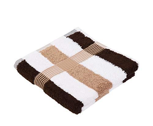 Gözze Handtuch 2er-Set, 100% Baumwolle, 50 x 100 cm, New York, Streifen, Marone/Weiß/Mocca, 555-9600-A4