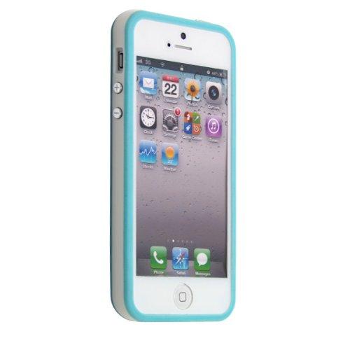 Housse de protection pour iPhone–slim case en Transparent mat de PrimaCase Bumper + Harte Case TYP-2 09.Lila / Lila 02.Blau / Weiß