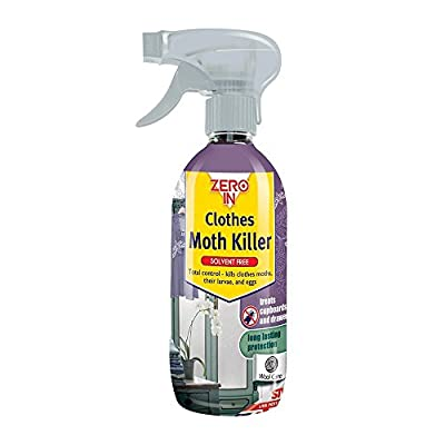 Zero In Clothes Moth Killer (Water-Based, Solvent-Free Surface Treatment for the Home, Controls Clothing Moths, Larvae and Eggs), 500 ml - Clear