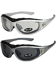 2er Pack Choppers 911 Sonnenbrillen Motorradbrille Sportbrille Radbrille mit Polsterung in den Farben schwarz, anthrazit, silber und weiß
