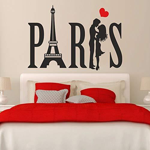 zhuziji Paris Paar Eiffelturm Liebe Herz Flur Home Wohnzimmer Schlafzimmer Fenster Aufkleber Abnehmbare Vinyl Kunst Wandaufkleber Mur weiß 69x107 cm