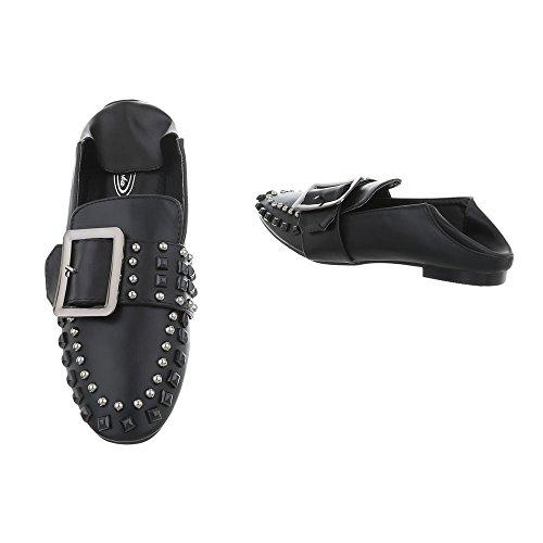 Chaussures femme Mocassins Bloc Slippers Ital-Design noir 9039-5