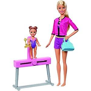 Barbie Quieo Ser Gimnasta artística - Muñeca rubia con niña y accesorios (Mattel FXP39)
