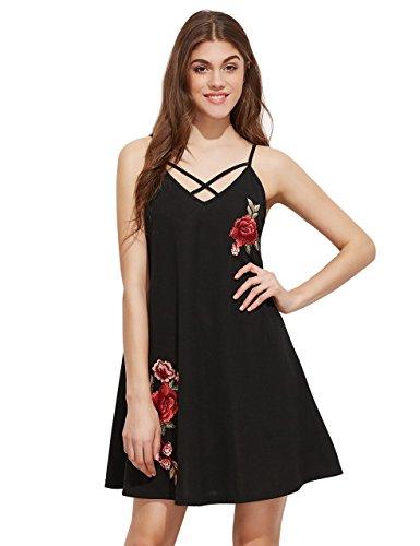 ROMWE Damen Blumen Stickerein Sommerkleid mit V-Ausschnitt Spagehtti Träger Partykleid Strandkleid Schwarz