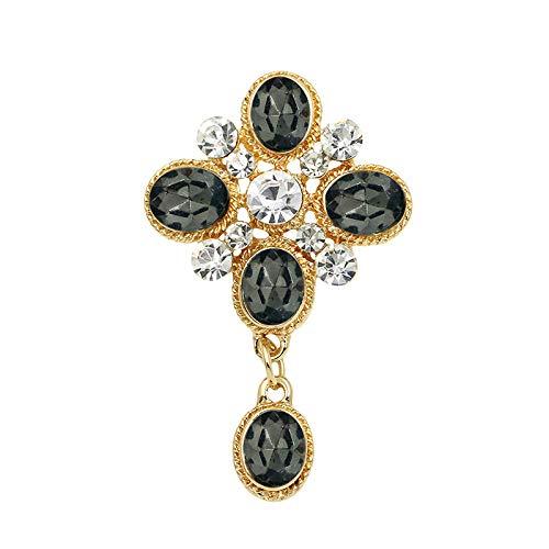 Funkelnde Zirkonia Crystal Löwenzahn Blume Brosche Pins für Frauen in Weißgold oder Gelbgold Farbe überzogen 7X4CMPerfectforU