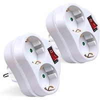 Extrastar adaptador con interruptor y 2 enchufes schuko.2 paquetes 16A/250V~ MAx.3680W