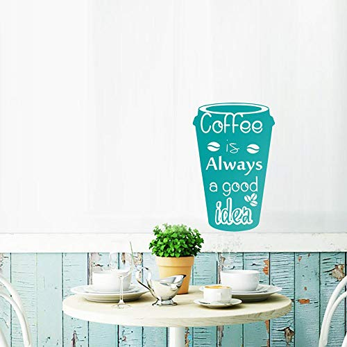 Wall Sticker Coffee Is Always A Good Idea Cup Decals Vinyl Beg Wall Stickers Coffee Removable Diy Kitchen Wall Decor For Restroom Teal