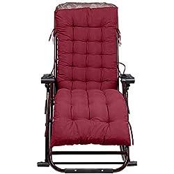 Sedia a sdraio da giardino sdraio cuscini imbottiti patio reclinabili lounge cuscino del sedile, 155 x 48 x 8 cm, rosso (Sedia non inclusa)