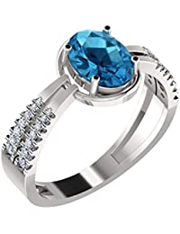 His & Her White Gold, Diamond And Topaz Ring For Women