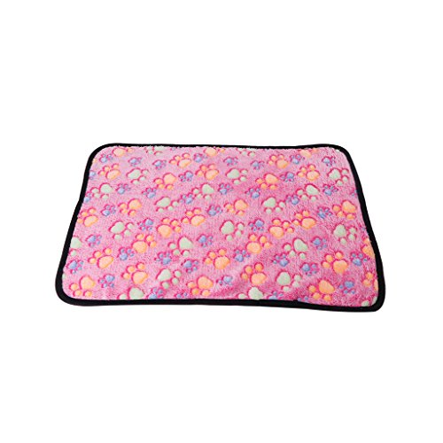 Qiuxiaoaa Pet Sleeping Pad Dogs Sleeping Quilt Cats Blanket Warme atmungsaktive Matte Soft Coral Cashmere Paws Winterdecke Paw Print Schwarz Side Pink Medium -