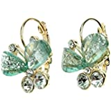 Demarkt Femme Jolie Boucle d'Oreilles Papillon Clous d'Oreilles avec deux Diamant Simulé en Couleur Vert