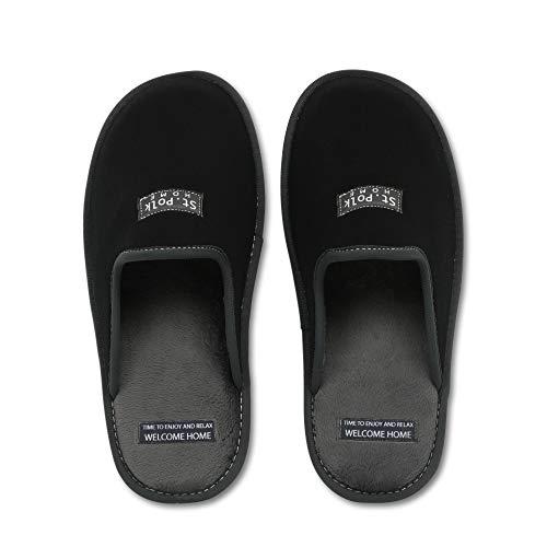Zapatillas de Estar por casa Hombre/Mujer. Slippers para Verano e Invierno/Pantuflas cómodas, Resistentes, Transpirables y de Interior Suave. Suela de Goma Antideslizante (38 EU, Negro)