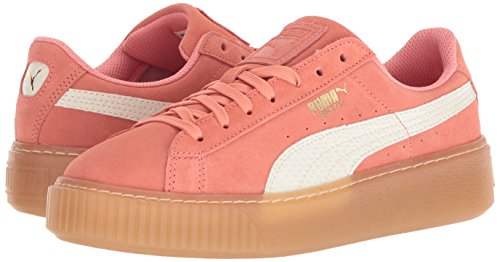 PUMA Unisex-Kids Suede Platform SNK Sneaker  Shell Pink-Whisper White  7 M US Big Kid