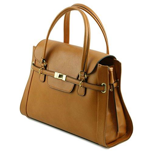 Tuscany Leather TL NeoClassic - Borsa a mano in pelle con chiusura a girello Talpa scuro Borse donna a mano in pelle Talpa scuro