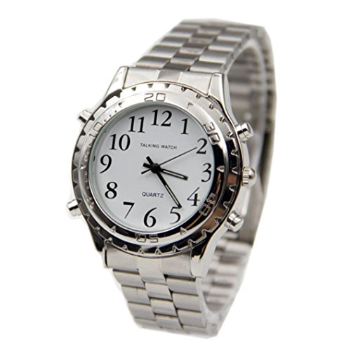 Preisvergleich Produktbild Sansee Englisch Talking Clock Edelstahl für blinde oder optisch beeinträchtigte Watch-Blind Uhr