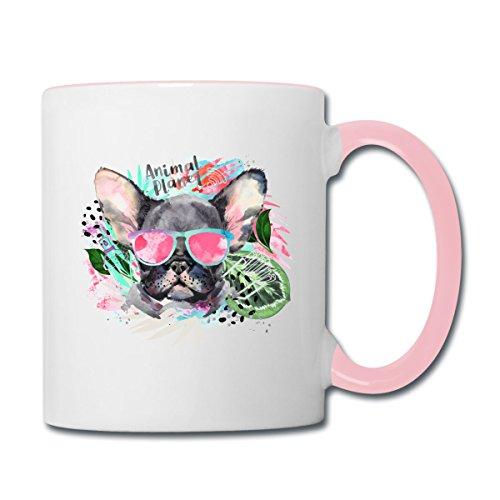 Spreadshirt Animal Planet Coole Französische Bulldogge Mit Sonnenbrille Tasse zweifarbig, Weiß/Pink