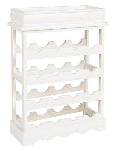 ts-ideen Landhaus Weinregal Shabby Weiß für 16 Flaschen Flaschenregal weißes Holz Wein Regal Board