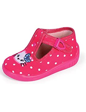 Babyschuhe Hausschuhe Laufschuhe Ballerina mit Clip Verschluss Katze pink polkadot Gr. 23