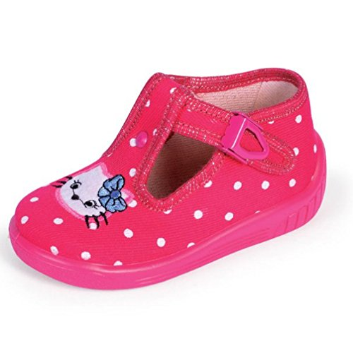 Celebration Babyschuhe Hausschuhe Laufschuhe Ballerina mit Clip Verschluss Katze pink polkadot Gr. 23