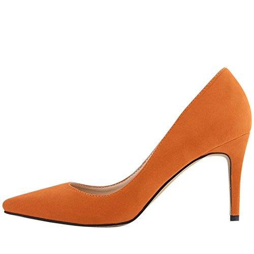OCHENTA Femme Escarpin Suedine Classique Talon Aiguille A Enfiler Chaussures Plusieurs Couleur Orange