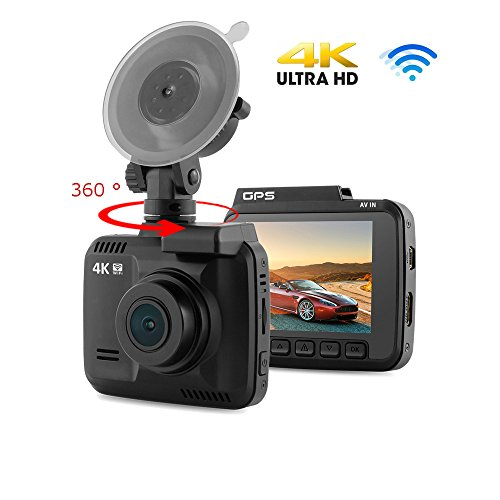 JIJI886 Mini Autokamera, 4K HD 2160P-DVR-Kamera GPS WiFi Dashcam Auto Kamera Videorecorder Fahren Recorder mit Aufnahme /170° Weitwinkelobjektiv/Bewegungserkennung/G-Sensor (Schwarz)