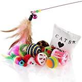 Purr Paw Cat Toys & Kitten Variety Selection Pack [10pcs] Including Mice, Balls and Bells