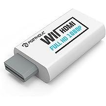 Convertidor Wii a HDMI Wii2HDMI 720P/ 1080P, PORTHOLIC Full HD Adaptador con Salida de Audio de 3,5 mm y Puerto HDMI para Nintendo wii wii HDTV Proyector Beamer Monitor (Blanco)
