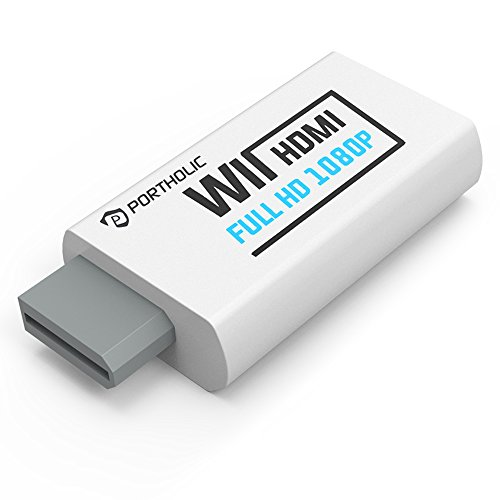 Wii zu HDMI Adapter Konsolen Adapter ,PORTHOLIC Wii Converter HDMI mit Audio über HDMI und extra 3,5mm Buchse für Audioausgang für TV Monitor Beamer Fernseher variable Auflösung (Hdmi Wii)