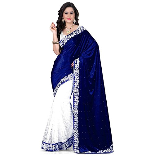 Buyonn Women's Velvet & Net Saree With Blouse Piece (Blue Velvet _Blue)