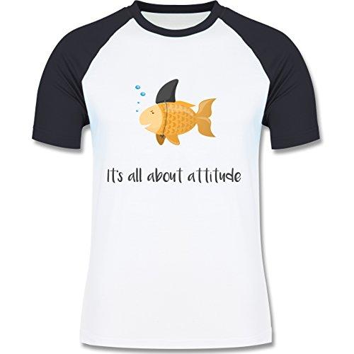 Shirtracer Statement Shirts - It's All about Attitude - Herren Baseball Shirt Weiß/Navy Blau