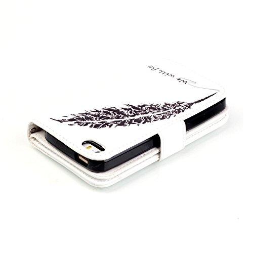 iPhone 6S Plus Hülle Case,iPhone 6 Plus Hülle Case,Gift_Source [Multi Card Brieftasche] Premium Magnetic PU Leder Brieftasche mit Built-in 9 Card Slots Folio Flip Hülle Case für Apple iPhone 6S Plus/6 E01-05-schwarz Feather