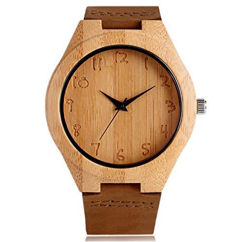 CJYSB Einfache Bambus Analog Quarz minimalistischen Holz Herrenuhr Gravur Zahlen Holz Uhr männliche Leder Armreif Sport
